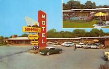 SUN 'N PINES MOTEL Lufkin, Texas Highway 59, 69 Roadside c1950s Vintage Postcard