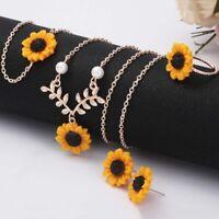 5Pcs/Set Creative Sunflower Boho Necklace Earrings Ring Bracelet Jewelry SALE