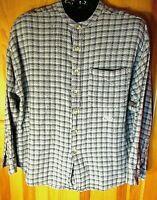 ZIZA  Men's Long Sleeve Woven Cotton Shirt ~ Stand Up Collar ~ Size XL