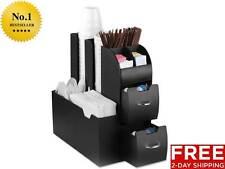 COFFEE CADDY Condiment Accessories Mind Reader Organizer Station Black White NEW