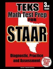 TEKS 3rd Grade Math Test Prep for STAAR by Teachers Treasures (2014, Paperback)