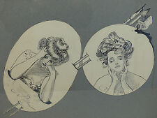 Original Signed Charles Dana Gibson Girls Pen & Ink Double Portrait Drawing 1900