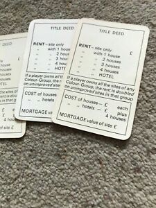 Monopoly Game, Batch Of Blank Title Deeds Cards. Genuine Waddingtons Parts