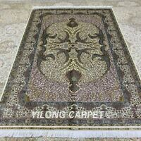 Yilong 5'x7.5' Antique Handmade Silk Carpets Floral Hand-knotted Area Rugs Z242A