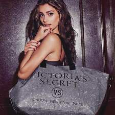 NEW VICTORIA'S SECRET SILVER GLITTER WEEKENDER TRAVEL TOTE BAG LIMITED EDITION