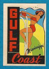 "VINTAGE ORIGINAL 1948 SOUVENIR ""GULF COAST"" MISSISSIPPI PINUP WATER DECAL ART"
