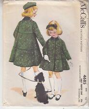 Girls Trapeze Coat Collar Long Sleeves McCalls 4685 Printed Sewing Pattern Sz 10
