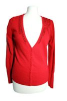 MONSOON Women's Cardigan Red Beaded  Detailed Angora Mix Casual Work Size 12
