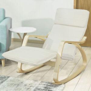 SoBuy® Fauteuil à bascule,Chaise longue+repose-pieds,Rocking Chair FST16-W FR
