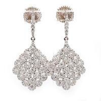 18K White Gold 4.17ctw Diamond Chandelier Dangle Earrings
