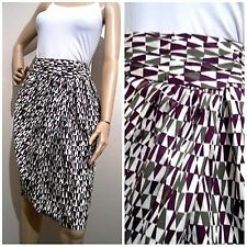 VERONIKA MAINE size 10 geometric patterned 100% cotton SKIRT with deep pockets