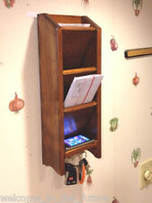 Mail Letter Rack Handcrafted Wood Organizer Key Holder WALL or DESK Br Mahogany