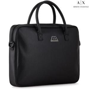 "Armani Exchange AX men's trendy black business bag for laptop 15"" documents"