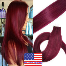 Seamless Tape in Skin Weft Indian Remy Human Hair Extensions Burgundy16Inch20Pcs
