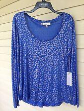 JLo Jennifer Women Large Blue Silver Sparkle Long Top Tee Shirt Blouse $34 NWT