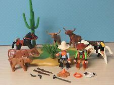 668 Playmobil 3801 Wasserstelle mit 4 Longhorn-Rindern Cowboys Rarität