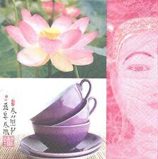2 Serviettes papier Asie Thé Bouddha Decoupage Paper Napkins Lotus tea