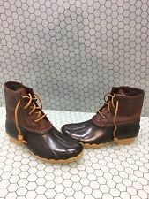 Sperry Top-Sider SALTWATER Brown Leather/Rubber Waterproof Rain Boots Girls 5 M
