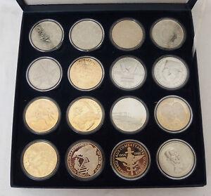 coffret collection trésor du patrimoine pièces monnaies 16 médailles historiques