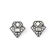 Trendy Retro Triangle Casablanca Ear Studs Earrings Silver Art Deco Vintage Jewe