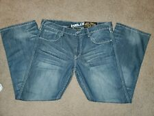 Helix N56 slim boot men's blue jeans whiskering size 38x32