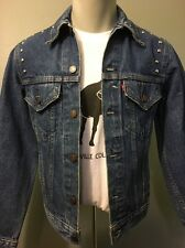 Vtg Levis 4 Pocket Blue Jean Jacket 80s Mens 34 Trucker Studded Denim Small Coat