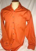 Geoffery Beene Wrinkle Free Sateen Dress Shirt Medium  15 1/2 34/35 Orange
