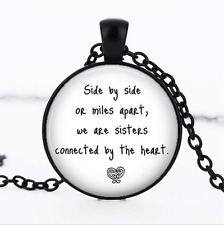 Long Distance Sister Black Glass Cabochon Necklace chain Pendant Wholesale