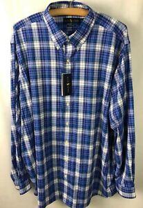 Ralph Lauren Shirt Sz 2XB Big & Tall Plaid Performance Stretch Wicking Blue A38