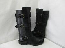STEVE MADDEN Buck Black Leather Buckle Strap Biker Boots Womens Size 6.5 M