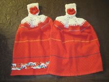 (2) CROCHET TOP ROSES & RIBBON KITCHEN HAND TOWELS FOR PIONEER WOMAN ENTHUSIAST