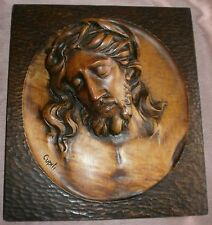 "Superbe sculpture "" Sainte face de Jésus Christ "" Bois sculpté signé "" Cupiti """