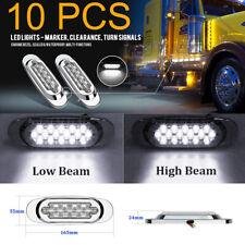 """10 Pcs 6.5"""" LED Side Marker Driving Light For Peterbilt Mack Chrome 16LED White"""