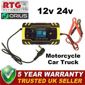 12V/24V 8 Amp Intelligent Smart Car Battery Charger Pulse Repair AGM EFB AFB