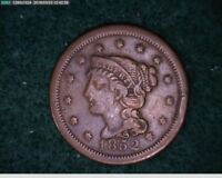 1852  Braided Hair Large Cent 1c old penny  ( 42s159 )