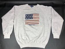 New listing Vintage Polo Ralph Lauren Grey American Flag Sweat Shirt Size L
