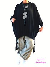 LAGENLOOK Ballon-Long-Knoten-Pullover Oversize Jersey schwarz 48 50 52 54 56 58
