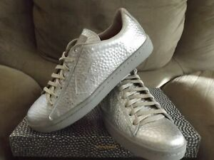 Converse CONS Men's Shoes Size 10.5 Pro Leather Hammered Metal 150837C Silver