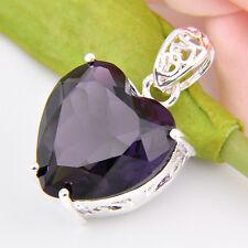 Silver Jewelry Mystical Purple Amethyst Gemstone Silver Heart Necklace Pendants