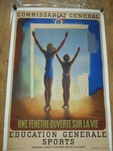 affiche ancienne sport athlétisme entoilee jeux olympiques plaque emaillee