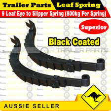 9 Leaf Eye & Slipper Trailer Spring (1600kg rating) Black Coated x 1 pair