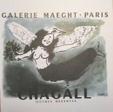 Marc Chagall Poster, Galerie Maeght Offset Lithograph,Vintage 1966.Plate-signed