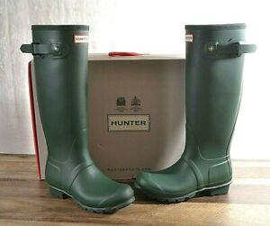 NEW Hunter Women's Green Matte Rubber Rain Boots Original Tall 6 MED WFT1000RMA