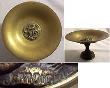 COUPE PIEDOUCHE XIXème BRONZE signée J MOIGNIEZ décor SALAMANDRE et FEUILLAGE