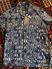 John Lewis Mens Indigo Aztec Print Short Sleeve Shirt S BNWT RRP £45
