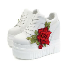 Embroidery Flowers High Heel Casual Wedge Sneakers Increase Thick Platform Shoes