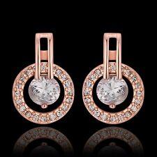 Women Fashion 18K Rose Gold Filled Rhinestone Crystal Engagement Dangle Earrings