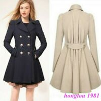 Womens Ladies Lapel Slim Fit Casual Warm New Trench Coat Wool Blend Jacket Parka