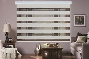 MODERN Zebra Double Roller Blinds Commercial Quality 60-240cm Wide 5 Colors