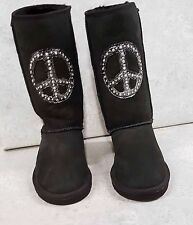 Penelope Wildberry Womens Sheepskin Boots  sz 7 Jeweled hand painted Brand New